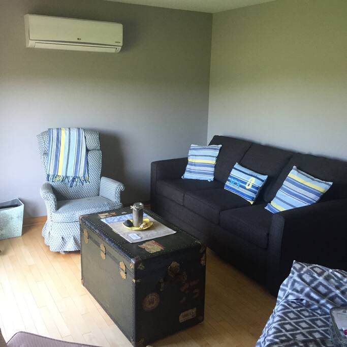 Bright living room with air conditioning and a double sofa bed.