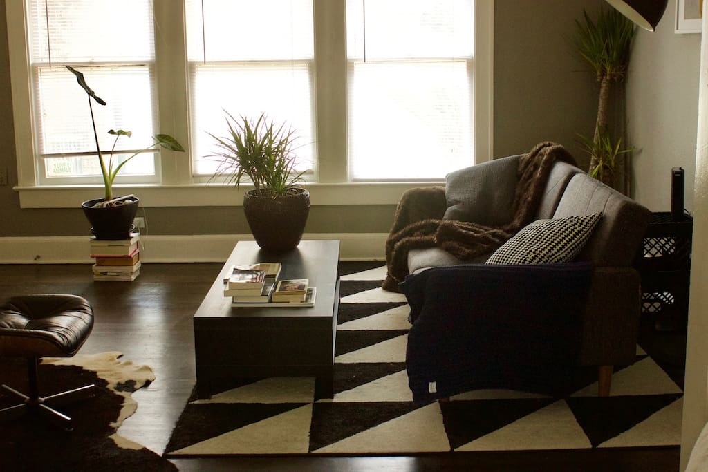 Another shot of living room with plants and coffee table