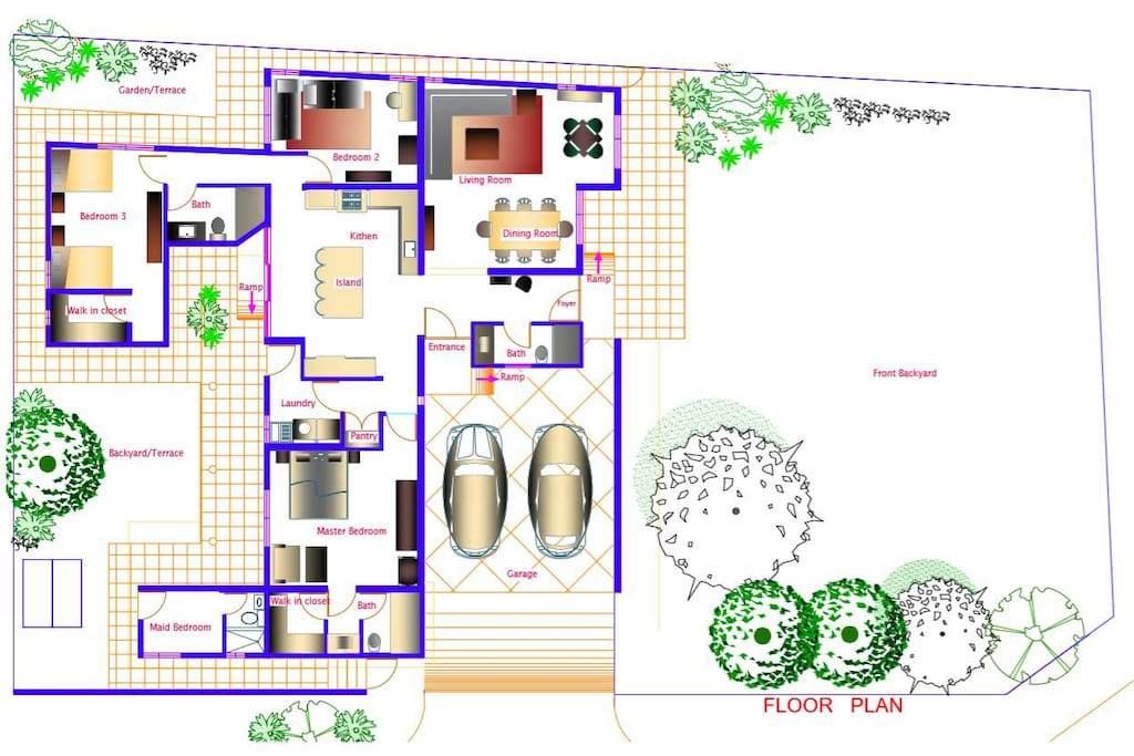 Floor Plan - 3 Bedrooms - 3 Full Baths - Living Room -Dining Room - Laundry - Double Closed Garage - 3 Terraces