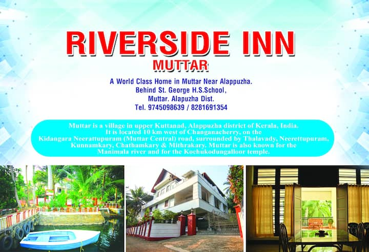 Riverside Inn Muttar, Alappuzha, Kerala. India.