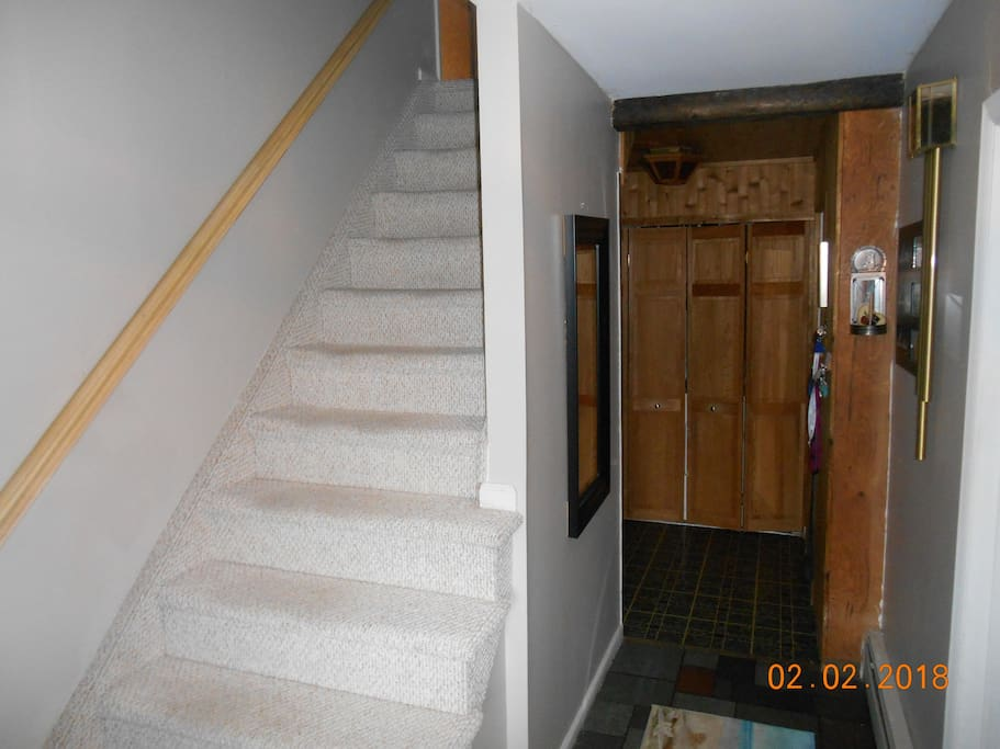 stairway up to private bedroom
