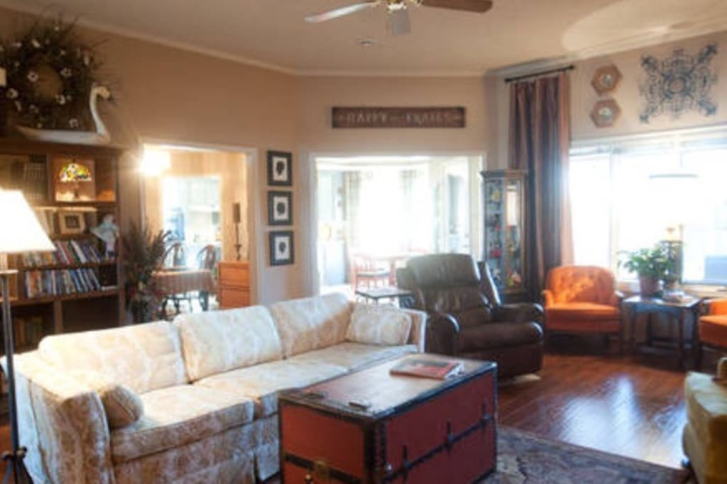 Spacious living area. seating for eight and more space on the hearth to sit.