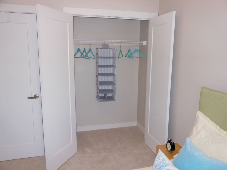 Spacious closet with a hanging organizer for t-shirts and small items.