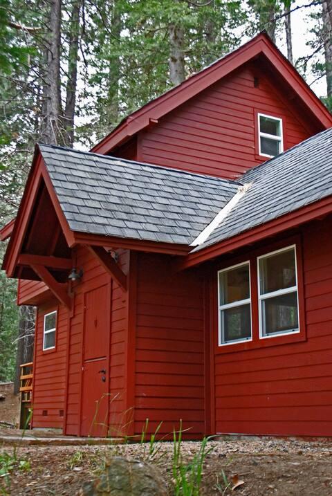 Romantic creekside forest cabin