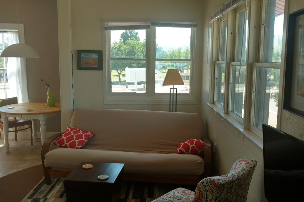 Sitting area, windows on the right have a view of Jerome. In front they overlook the town park.