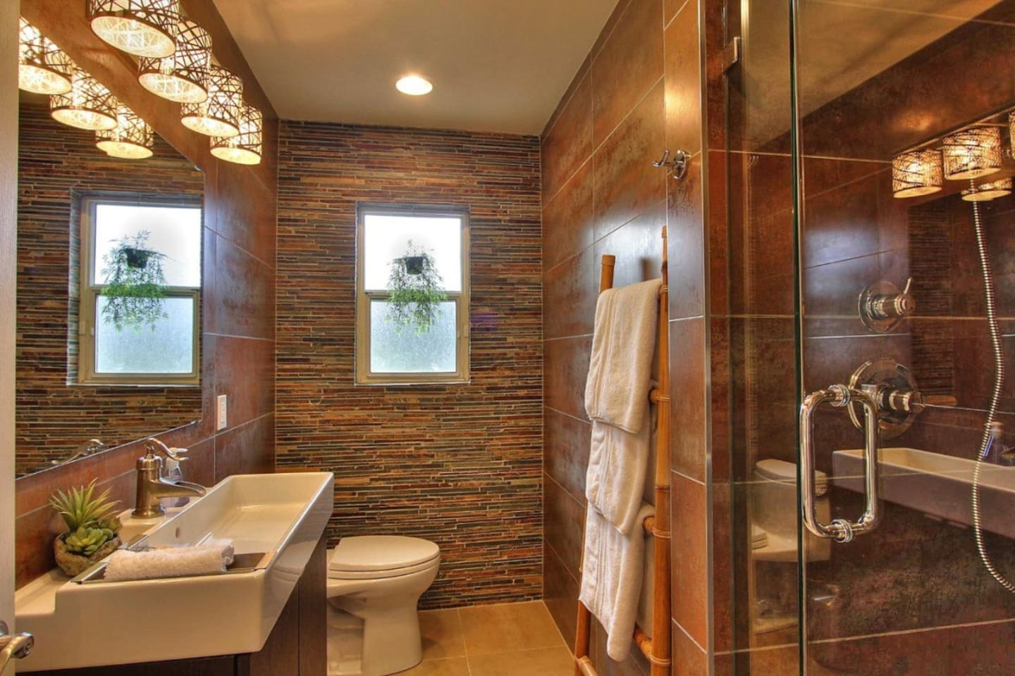 Private bath with glass shower (not ensuite)