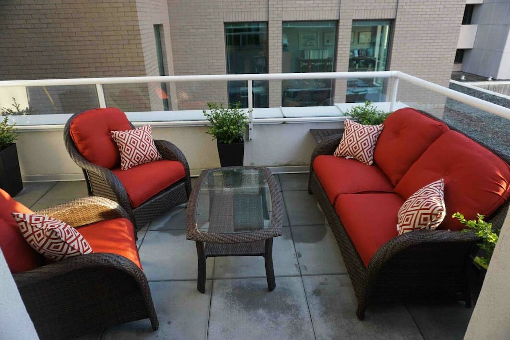 Huge patio with amazingly comfortable furniture.