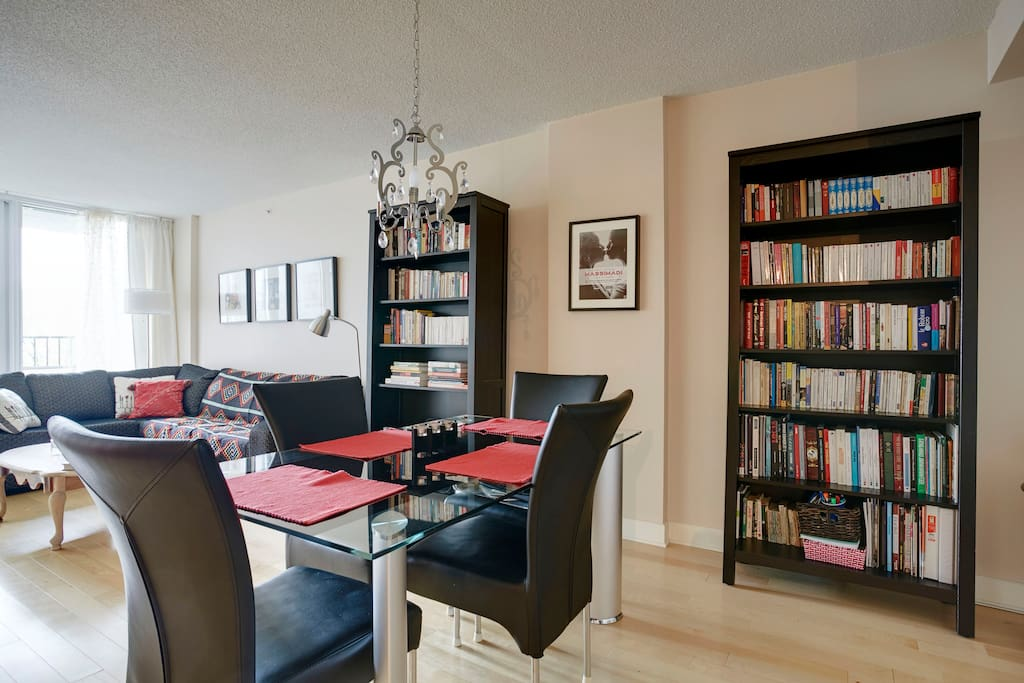 Open space condo. Spacious dining table and comfortable modern sofa. We have considerable collection of books in both English and French languages.