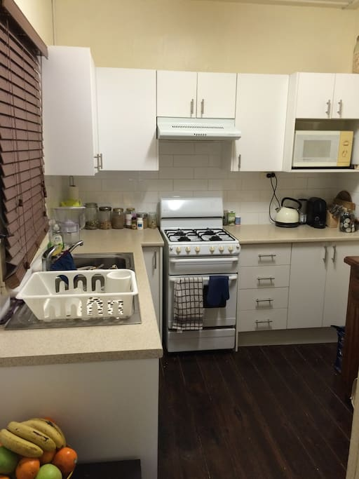 Self-contained kitchen, including all appliances, plus Nespresso coffee machine