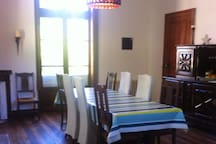 Our dining room- the hub of the house. Enjoy your breakfast or evening meal (20€ pp) in here.