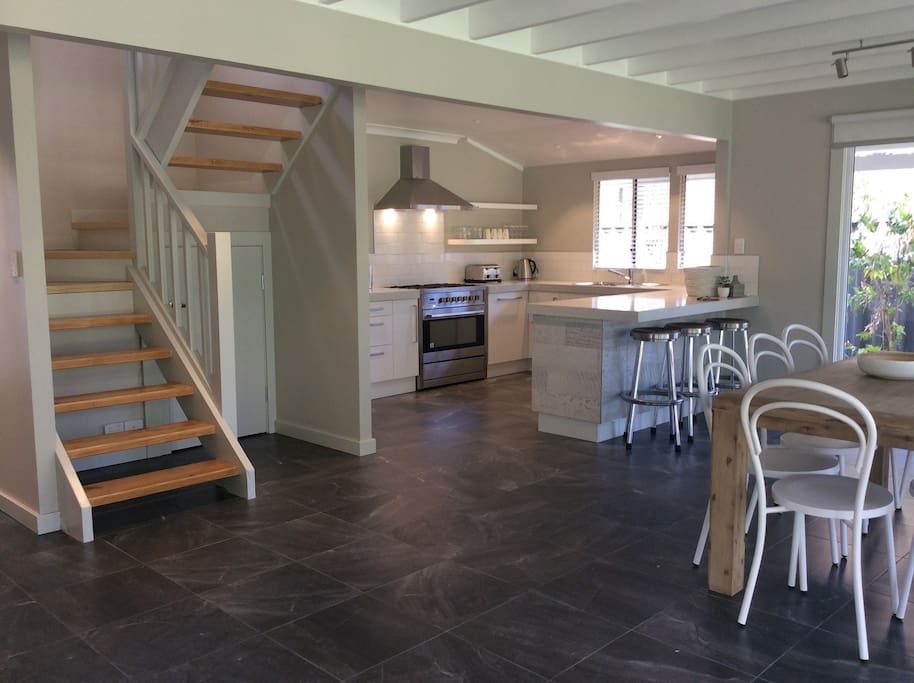 Open plan Kitchen, Dining and Living room. Spacious and bright. Modern clean lines.