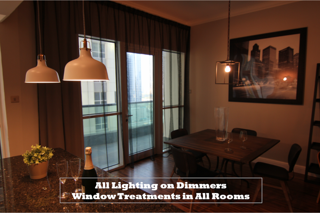 Dimmers on lights in all spaces allow for entertaining in any mood.
