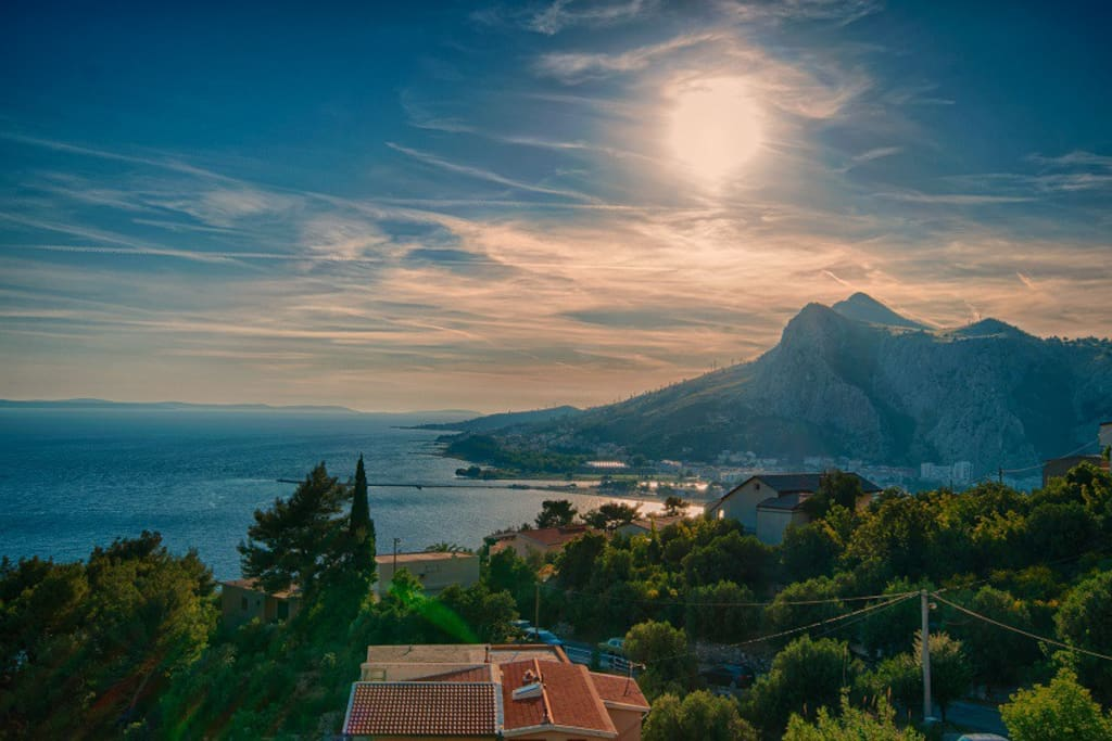 Panorama view..town of Omis, sea view, island Brac