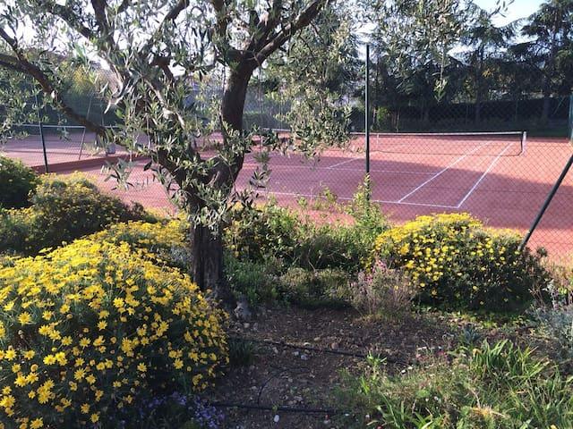 les deux cours de tennis avec les jardins autours très calme et très fleuri