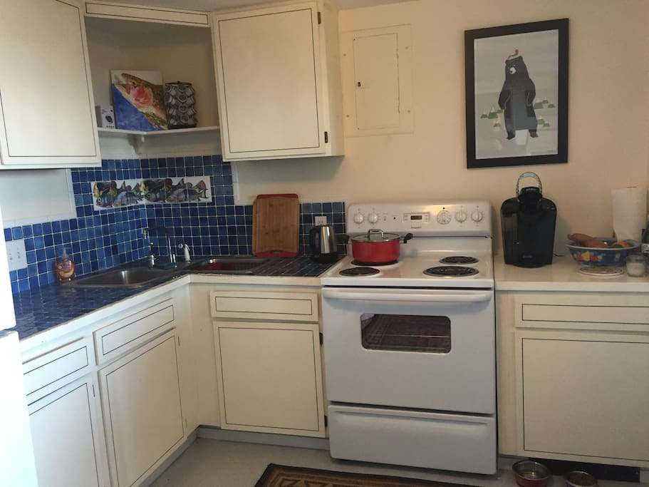 kitchen has a full-size stove and refrigerator and double sink