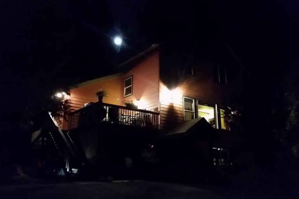 Full moon behind Cedar Grove Mountain Apartment