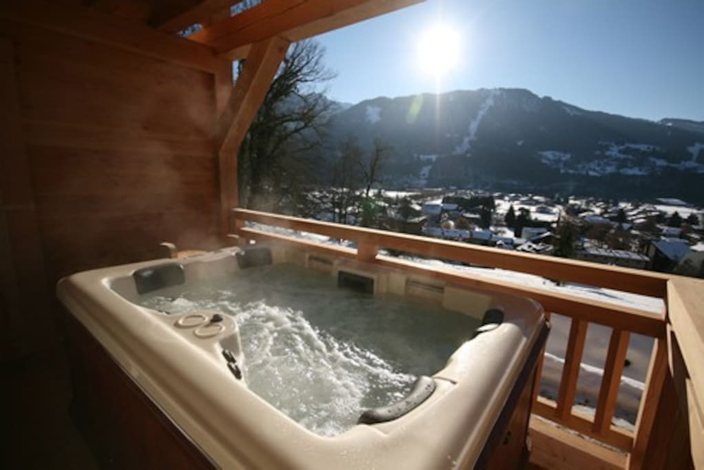Hot tub for 4 people on the first floor terrace with incredible views and amazing sun sets.