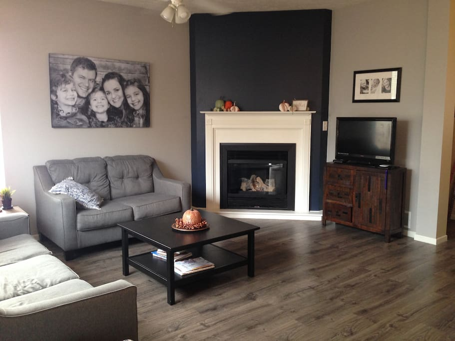 back living room with gas fireplace and queen sofa sleeper
