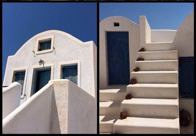 White-blue house.