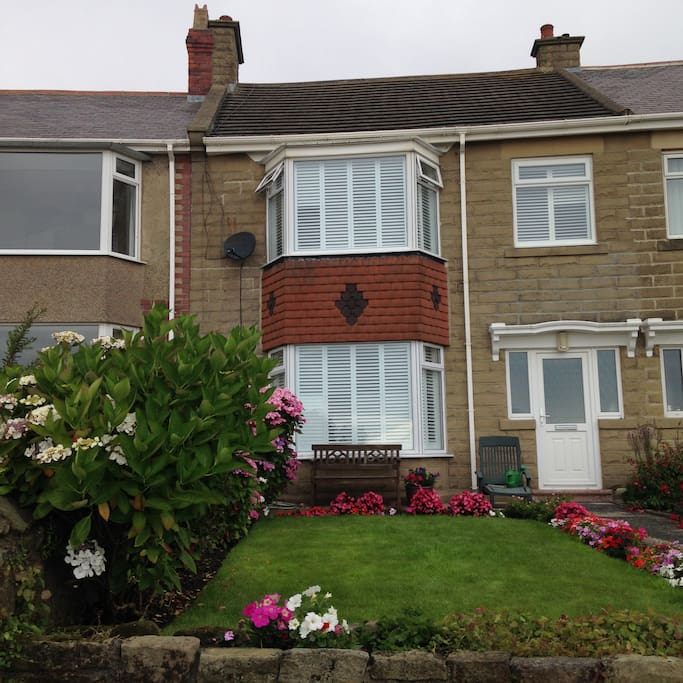 Front of the house in the centre of Newbiggin bay.