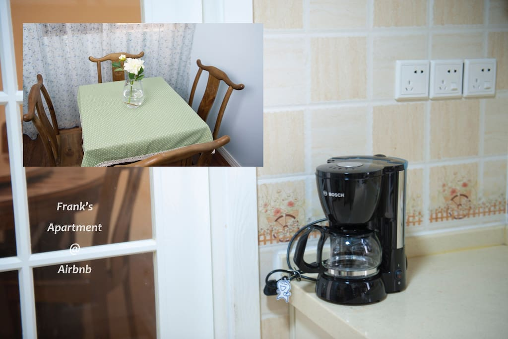 You can use the coffee machine to make coffee by yourself, and enjoy your time.