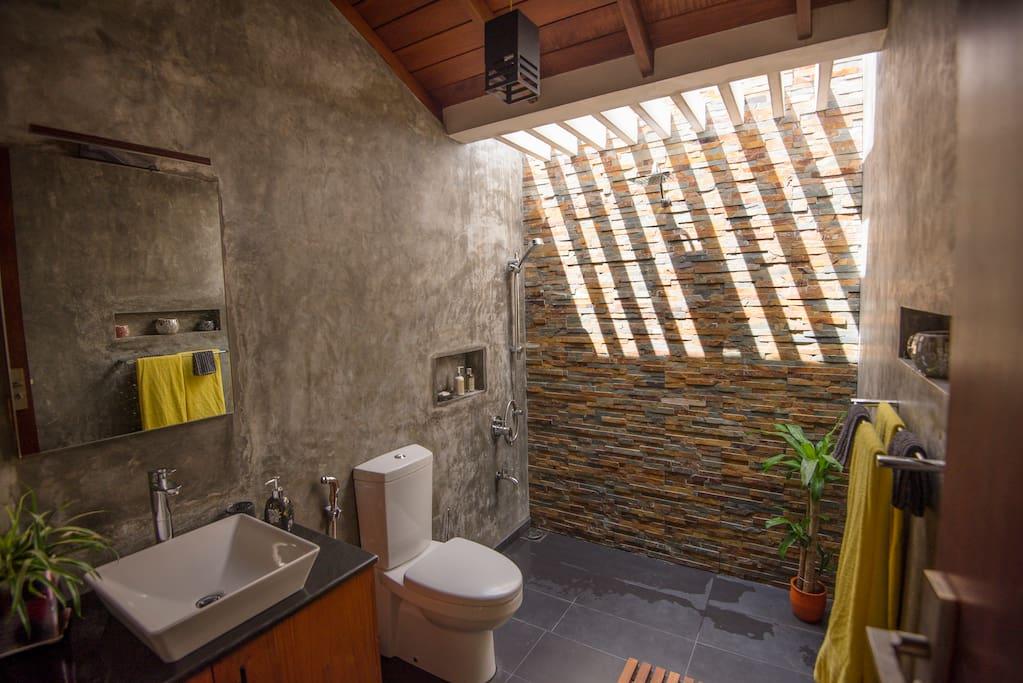 Natural light filled bathroom