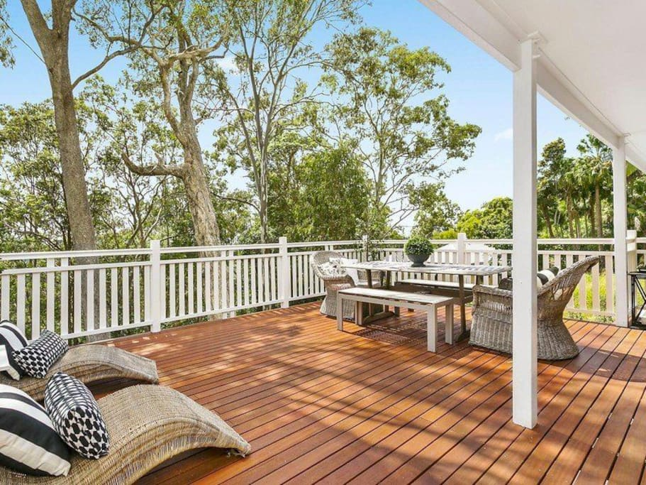Back deck with ocean glimpses - great for entertaining!