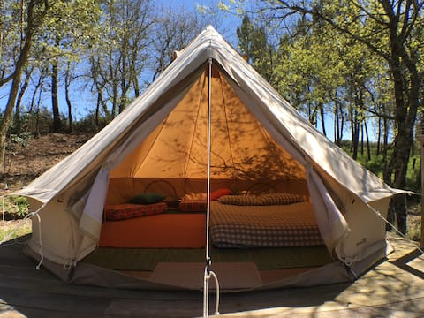 Belltent in the woods with a view