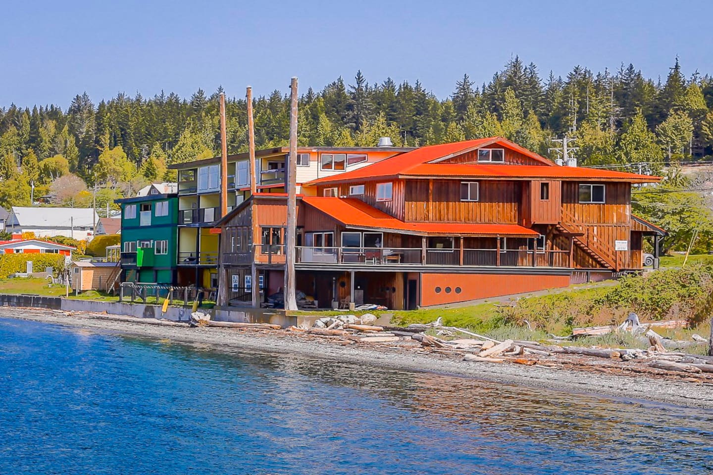 The Oceanfront Hotel has 16 rooms- 2 wheelchair friendly on the main floor. Many rooms are pet friendly.   There is great kayaking  & miles of hiking trails through the forest and along the beach.  Enjoy a fabulous sunset from your private deck.