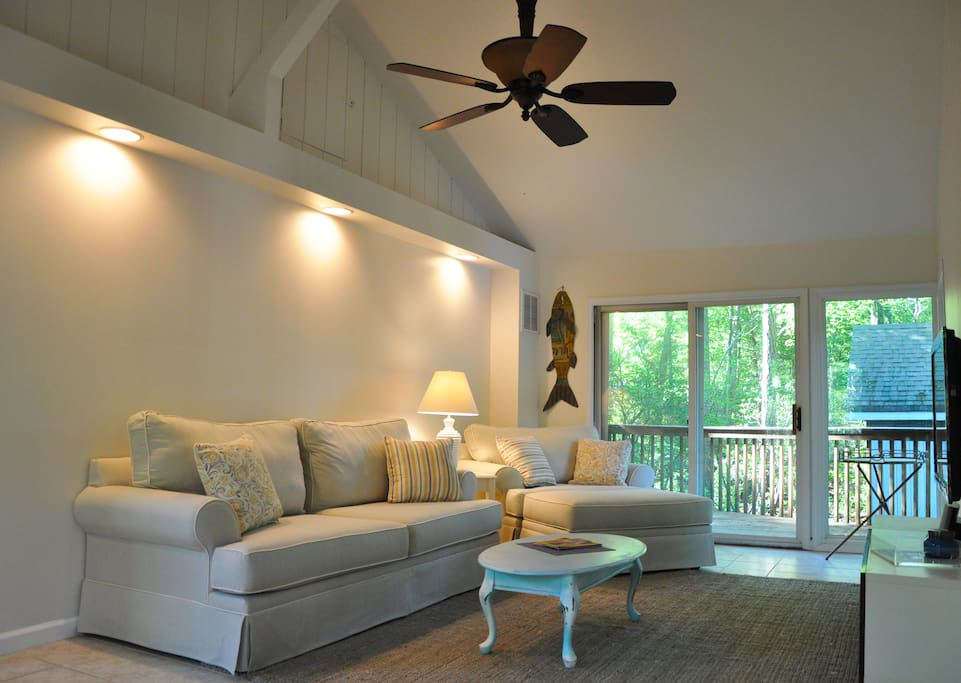 living room and back deck