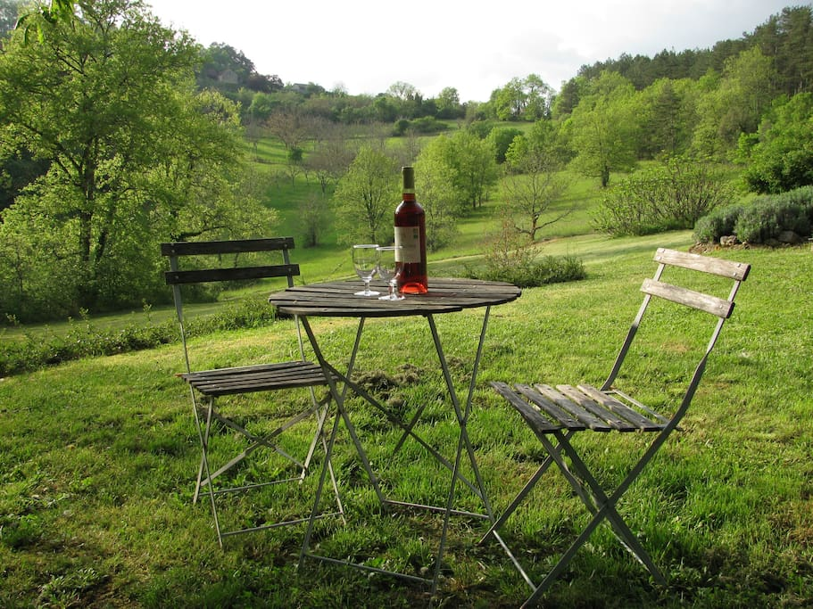 Looking out from hidden garden at apero time. Valley is completely private at all times.