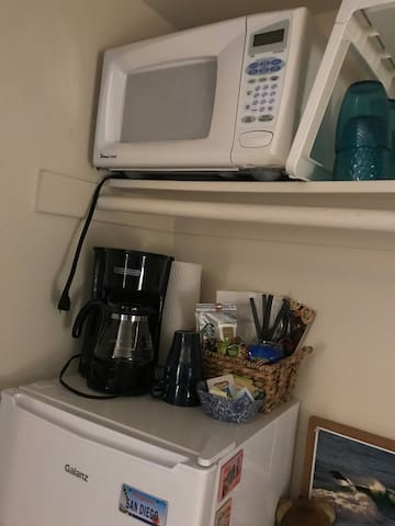 Small microwave is in your room - good for leftovers and small frozen meals.