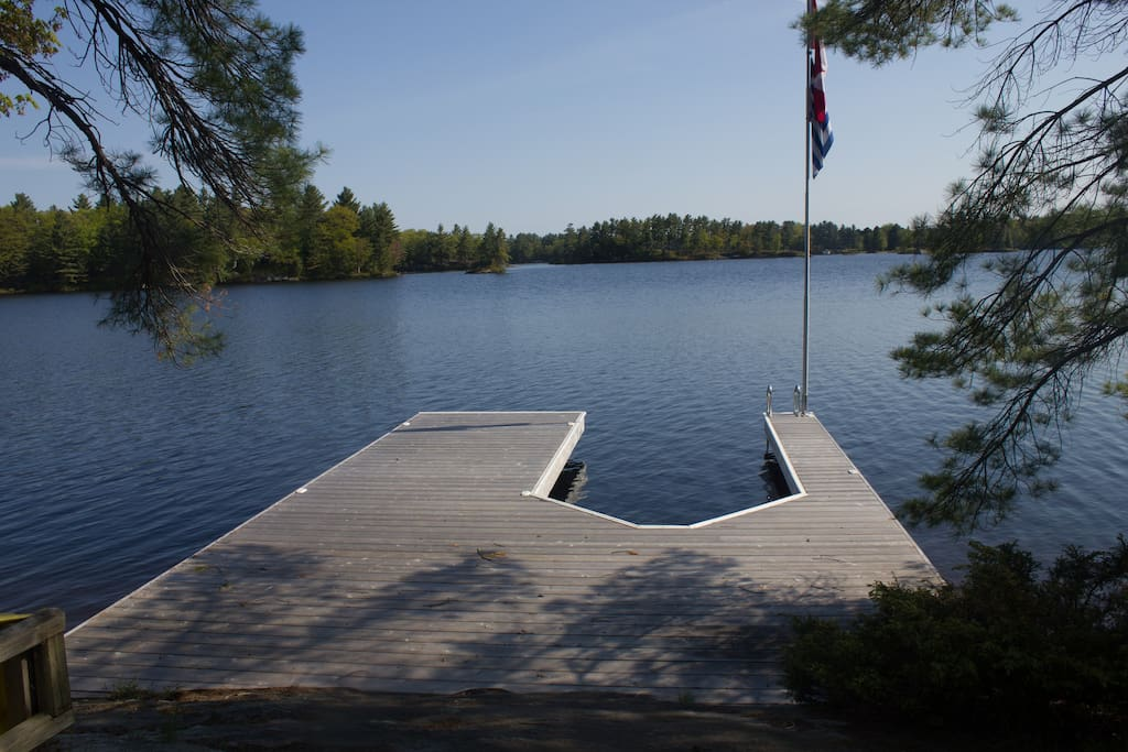 Large Steel Dock, rest or play on it.   Park your water toys and enjoy the views.