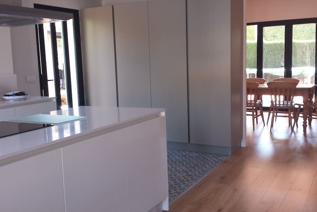 Kitchen with view on dining room