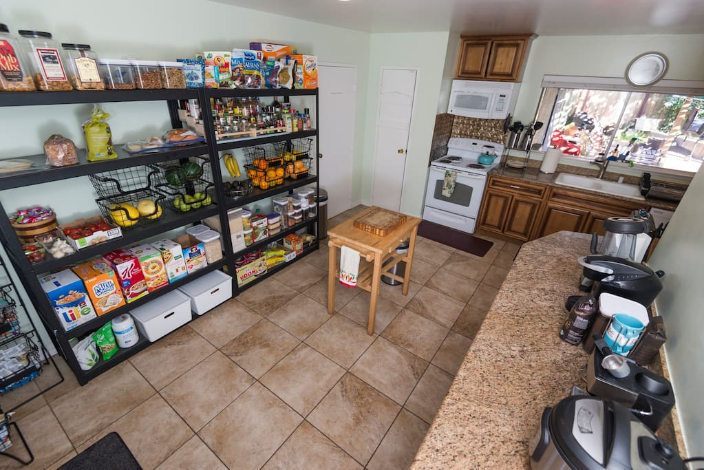 Huge kitchen, stocked with food
