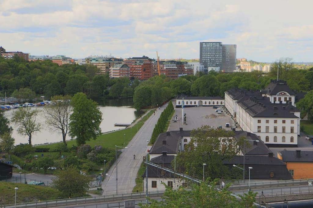 View of the Karlberg slott castle and Karlbergssjön, Lake Karlberg.