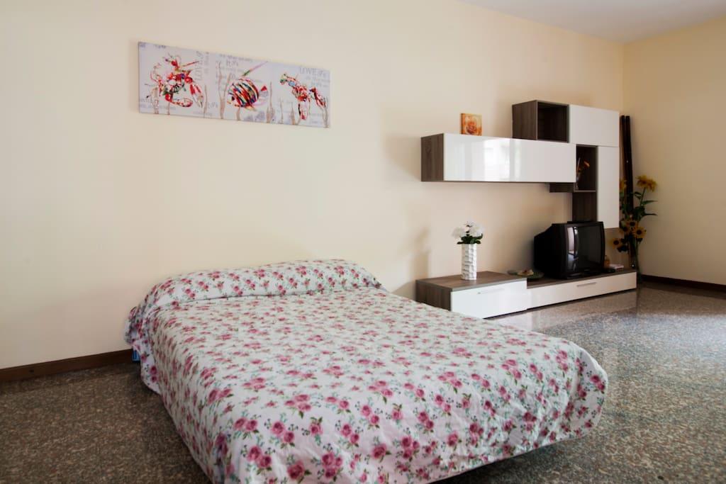 Big livingroom: The sofà bed is open and it becomes a bed!/Salone: Qui il divano blu e' aperto e diventa un letto