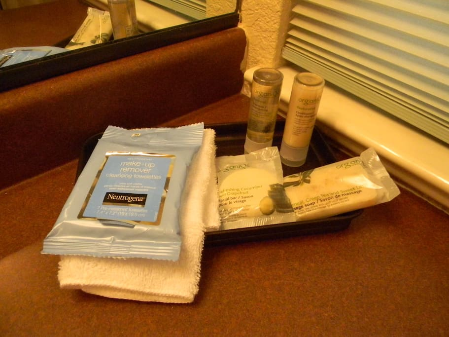 When you book with us you will get complimentary shampoo, conditioner, soap and make up wipes