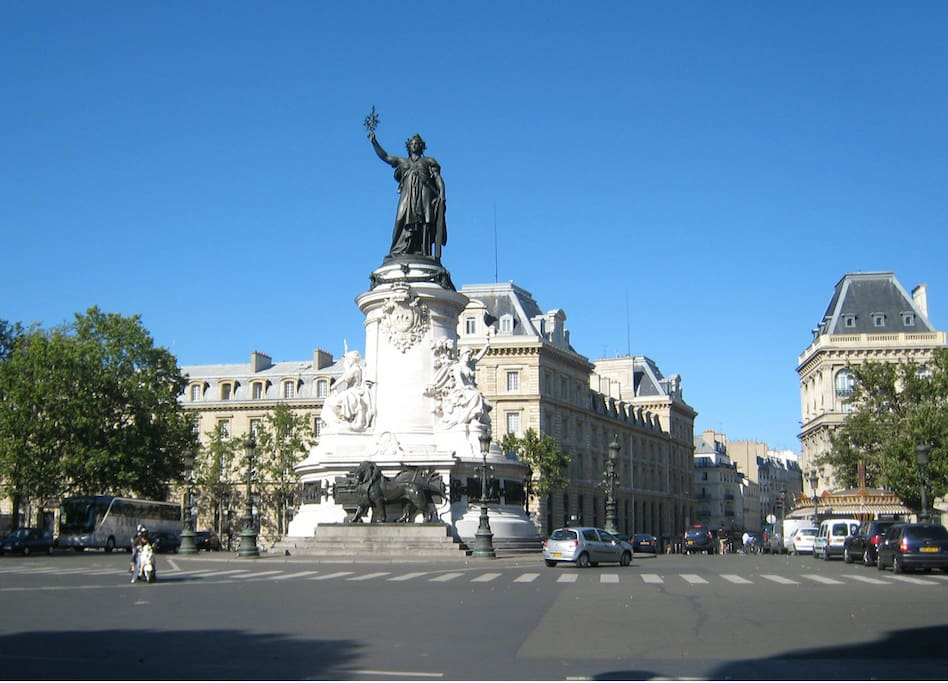 Center of Paris, République, where all metros are.