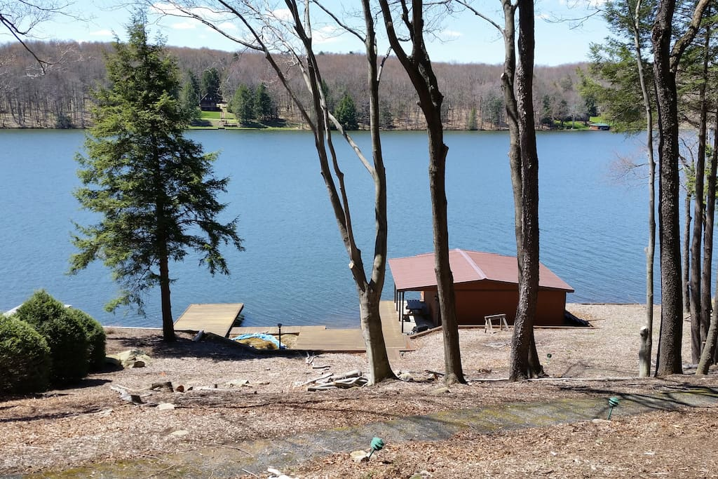 View from the deck of the lake and boathouse
