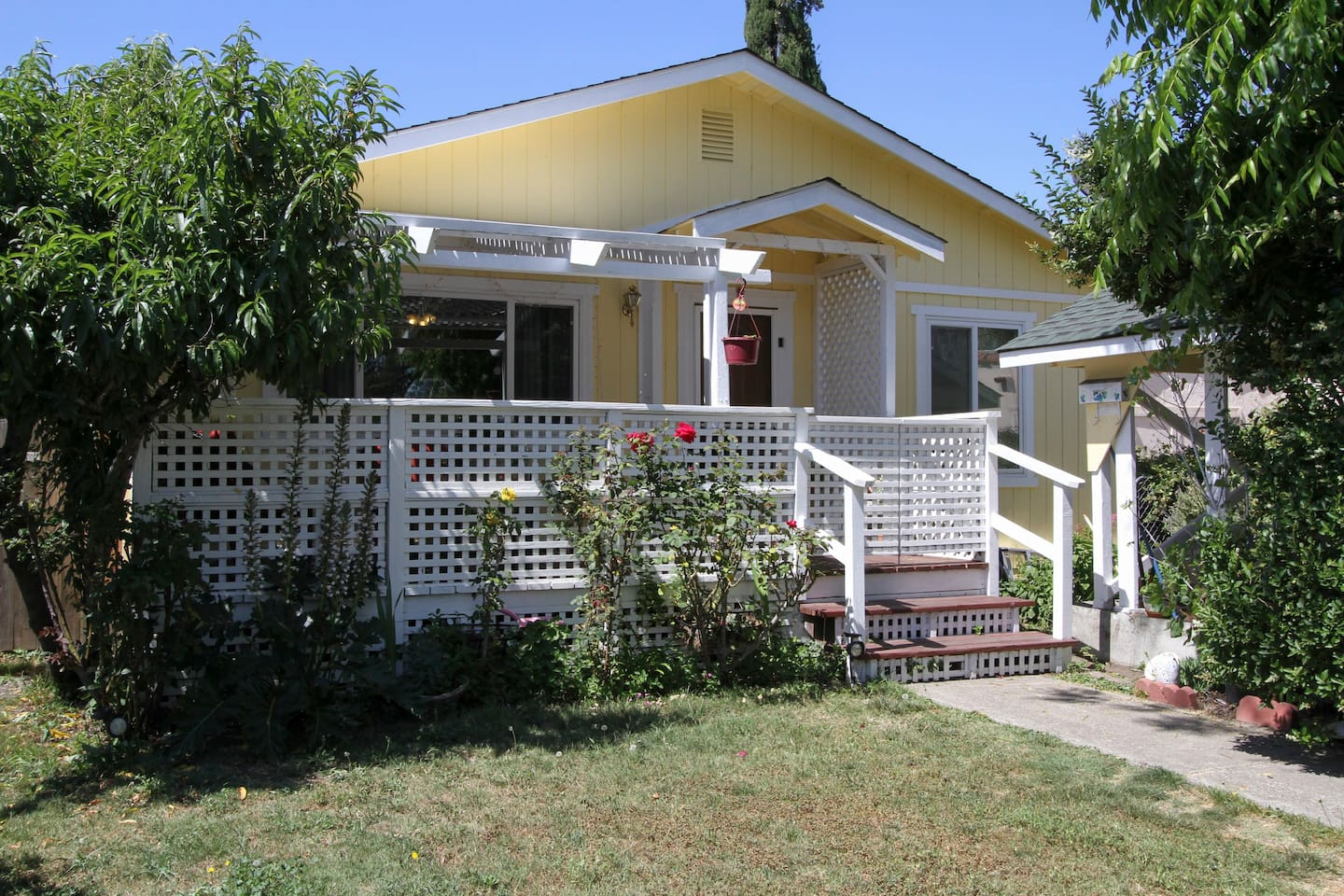 Front of house, Luther Burbank Garden's Hideaway! Wi-fi enabled,  we offer a level of comfort, security, quiet, and privacy, that would not be found in an inexpensive motel room. Airbnb hosts now four years, super hosts for the past two years.