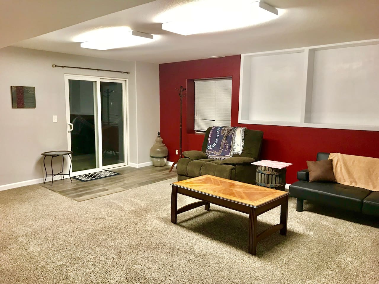 Relax and watch a DVD in the large basement living area