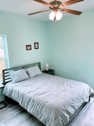 This unique room is the only bedroom on the first floor and has its own private entrance and exit to the outside as well as private en suite bathroom.  Brand new queen size Tuft & Needle foam mattress with hypoallergenic mattress protector.