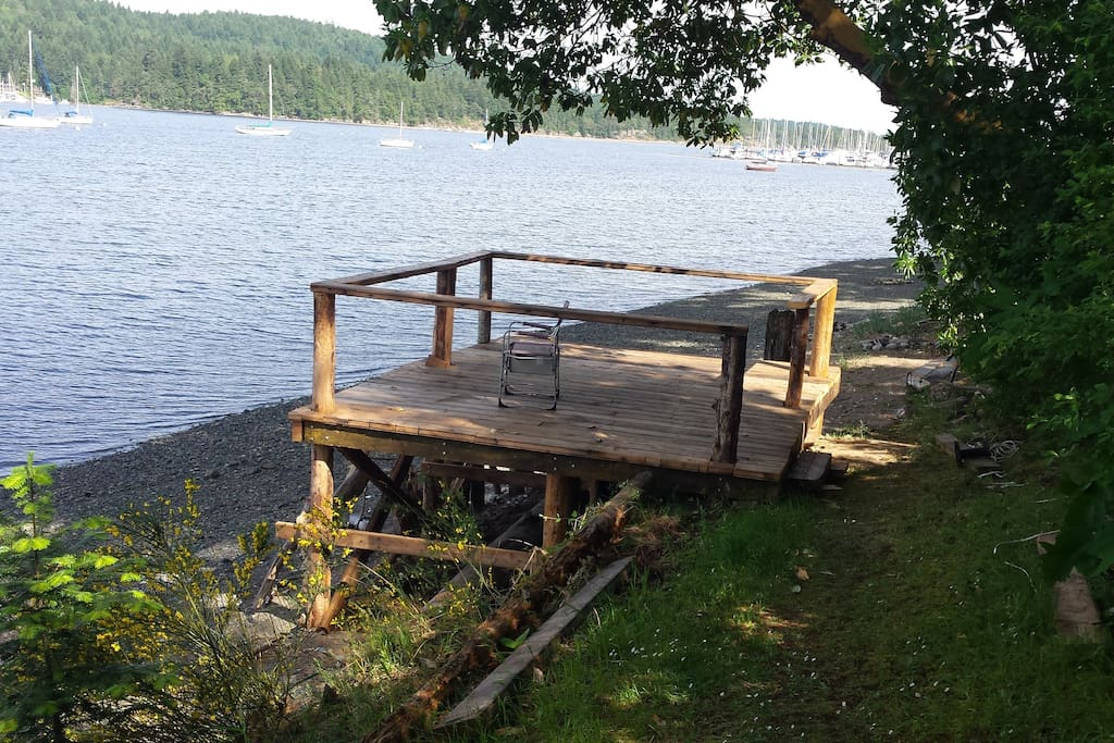 A deck down on the beach to watch the sunrise or sunset, this is a shared deck with the house.