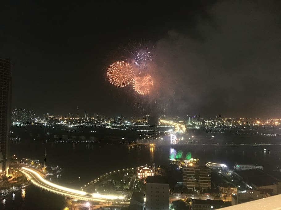 Watch fireworks from living room of apartment