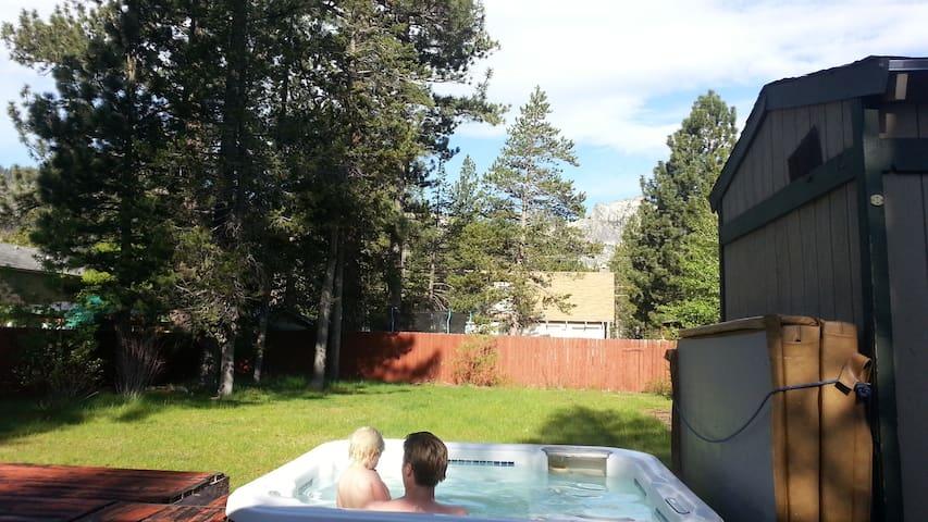 Early summer morning hot tub fun.