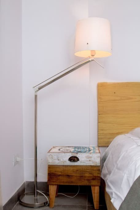 bedside table made from recycled wood