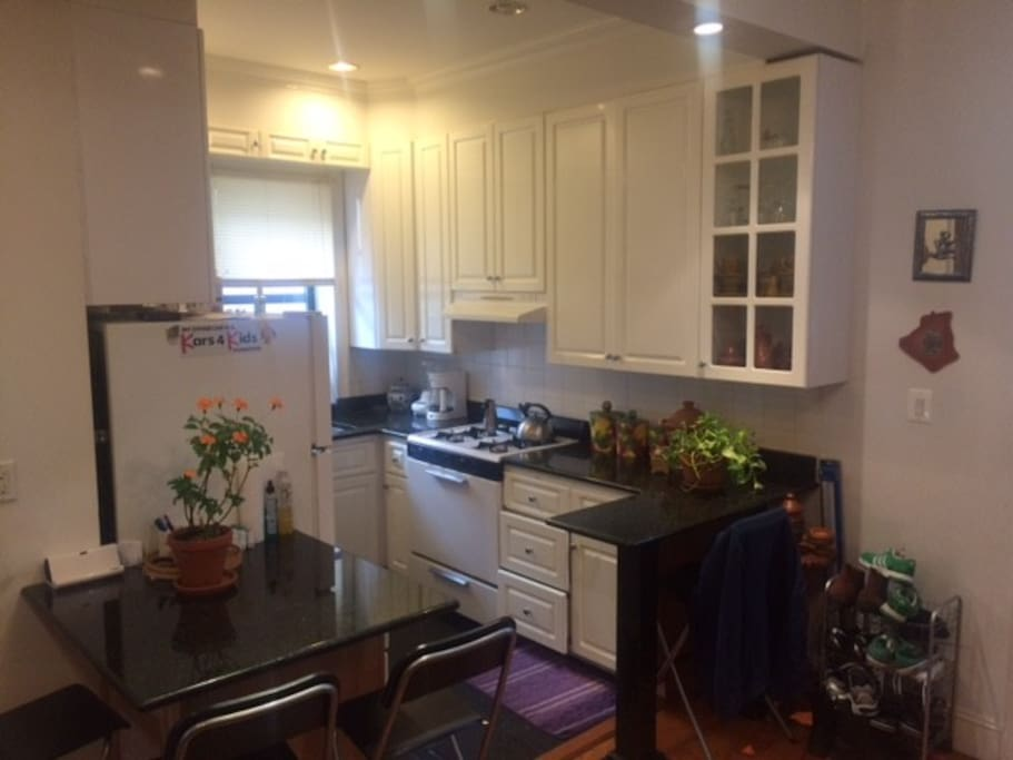 The kitchen includes a coffee machine, blender, dish washer and plates/glass cups.