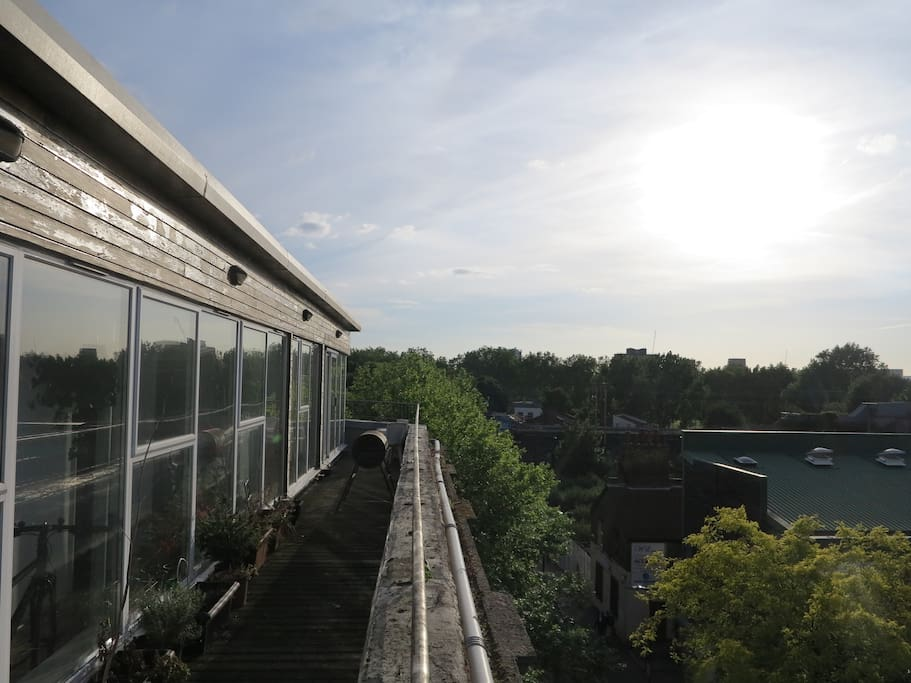 One side of the balcony looking towards London Fields Park.