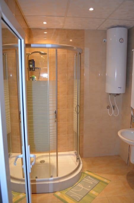New enclosed shower.